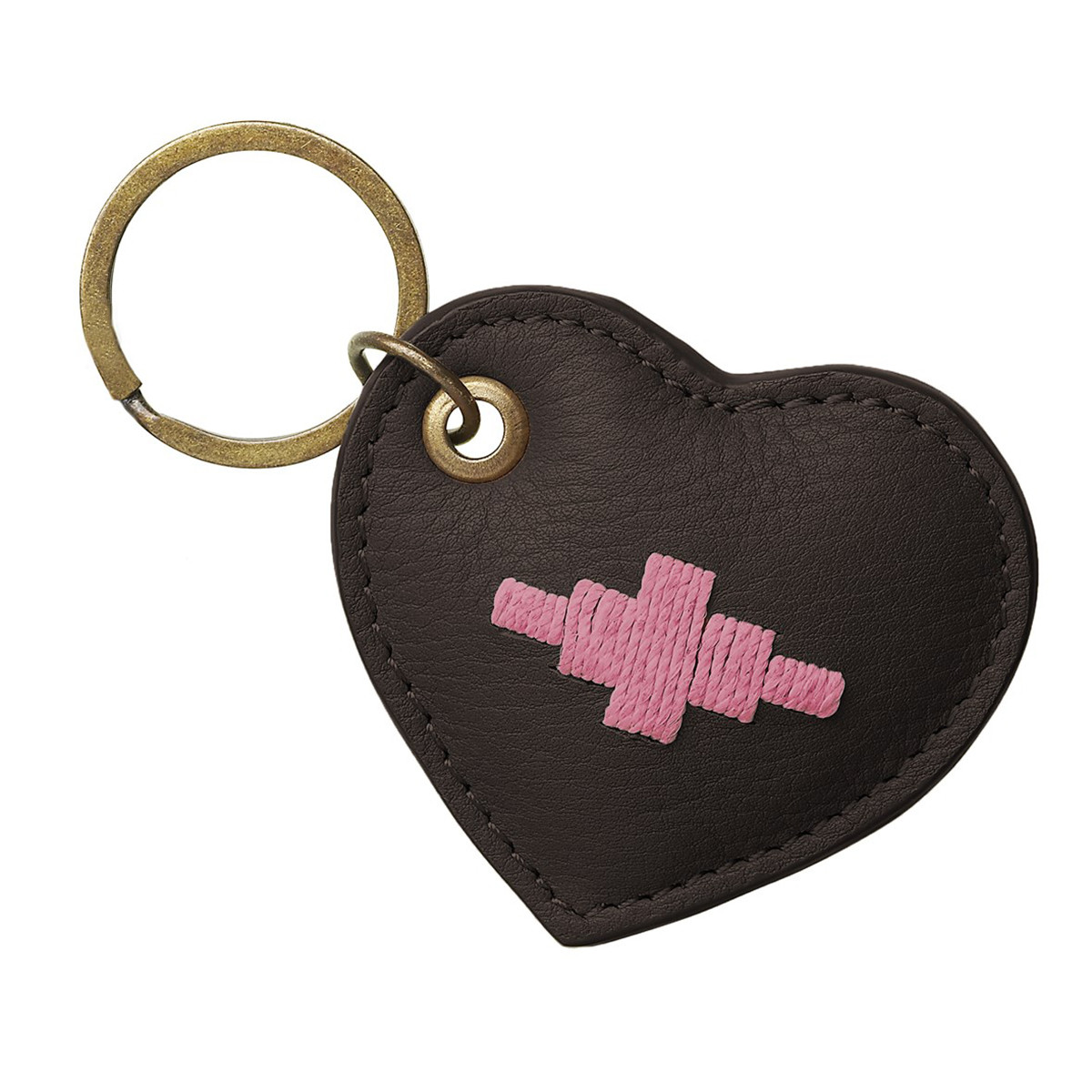 Pampeano Vida Heart Keyring -  Brown Leather with Pink Stitching