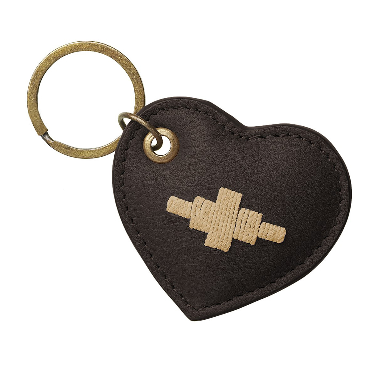 Pampeano Vida Heart Keyring - Brown Leather with Cream Stitching