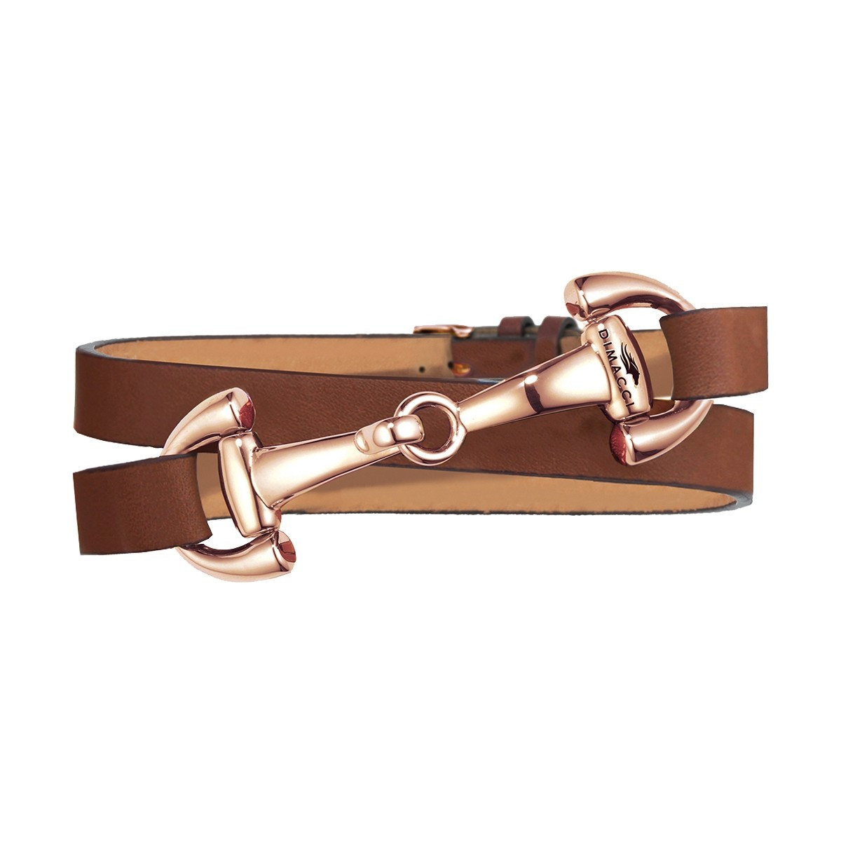 Dimacci Favorit Horse Bit Bracelet Cognac | Rose-Gold Plated