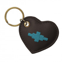 Pampeano Vida Heart Keyring - Brown Leather with Turquoise Stitching