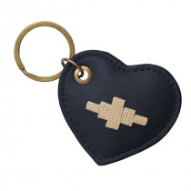Pampeano Vida Heart Keyring - Navy Leather with Cream Stitching
