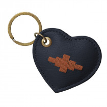Pampeano Vida Heart Keyring - Navy Leather with Orange Stitching