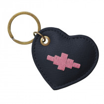 Pampeano Vida Heart Keyring - Navy Leather with Pink Stitching