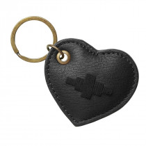 Pampeano  vida heart keyring - black leather with black stitching