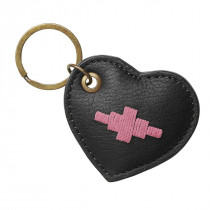 Pampeano Vida Heart Keyring - Black Leather with Pink Stitching