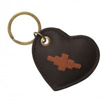 Pampeano Vida Heart Keyring - Brown Leather with Orange Stitching