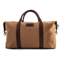 Pampeano Caballero Large Travel Bag - Brown Leather and Khaki Canvas with Navy Stitching