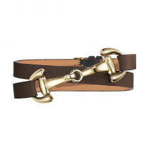 Dimacci Favorit Horse Bit Bracelet Brown | Gold Plated