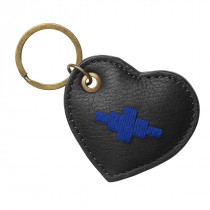 Pampeano Vida Heart Keyring - Black Leather with Blue Stitching